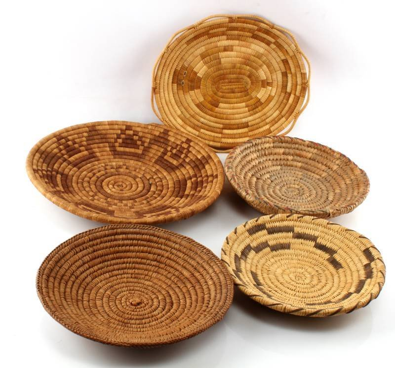5 NATIVE AMERICAN INDIAN COIL BASKETS