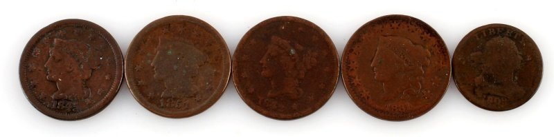 4 U.S. LARGE COPPER CENTS & 1 HALF CENT