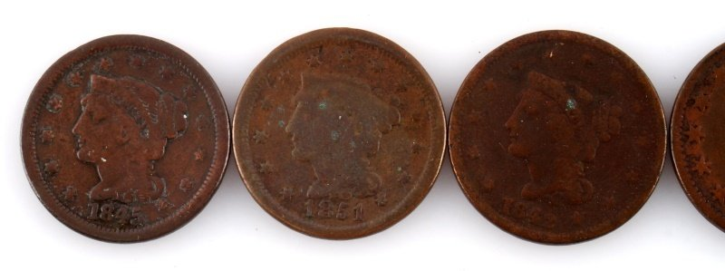 4 U.S. LARGE COPPER CENTS & 1 HALF CENT - 2