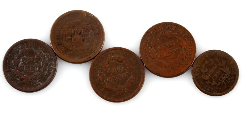4 U.S. LARGE COPPER CENTS & 1 HALF CENT - 4