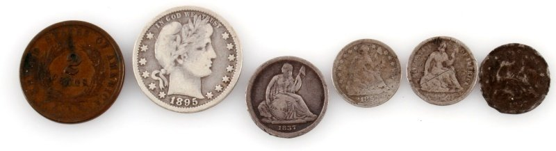 U.S. COIN LOT BARBER 2 CENT HALF DIME SEATED DIME