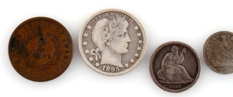U.S. COIN LOT BARBER 2 CENT HALF DIME SEATED DIME - 2