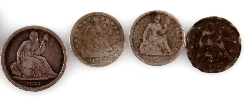 U.S. COIN LOT BARBER 2 CENT HALF DIME SEATED DIME - 3