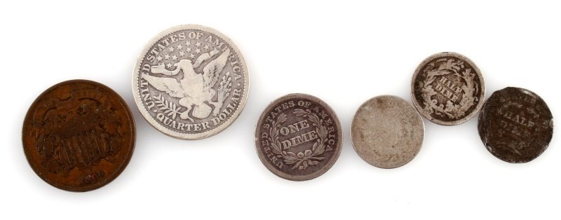 U.S. COIN LOT BARBER 2 CENT HALF DIME SEATED DIME - 4
