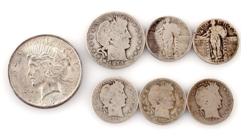 BARBER STANDING PEACE SILVER LOT OF 7