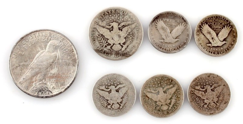 BARBER STANDING PEACE SILVER LOT OF 7 - 2