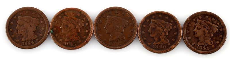 1844 – 1849 LARGE CENT LOT OF 5 COINS