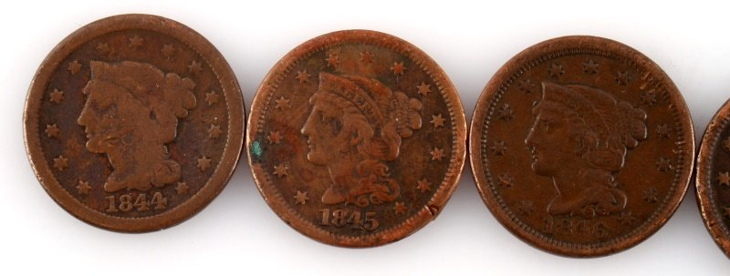 1844 – 1849 LARGE CENT LOT OF 5 COINS - 2