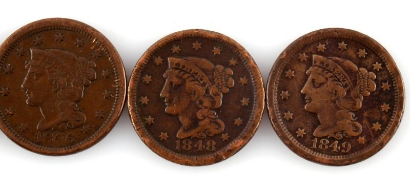 1844 – 1849 LARGE CENT LOT OF 5 COINS - 3