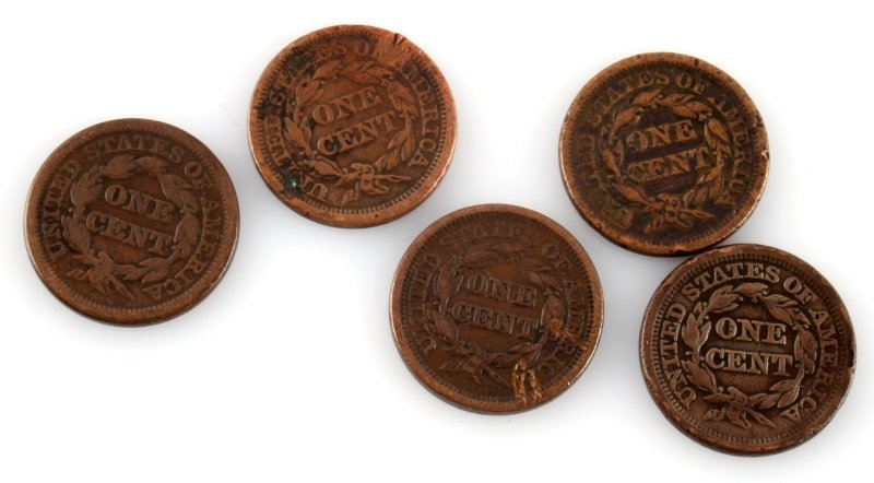 1844 – 1849 LARGE CENT LOT OF 5 COINS - 4