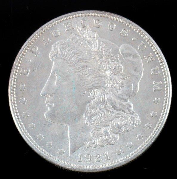 1921 MORGAN SILVER DOLLAR $1 COIN BU UNC