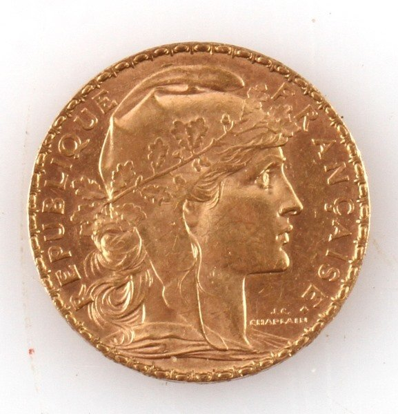 1903 FRENCH ROOSTER GOLD COIN 20 FRANCS