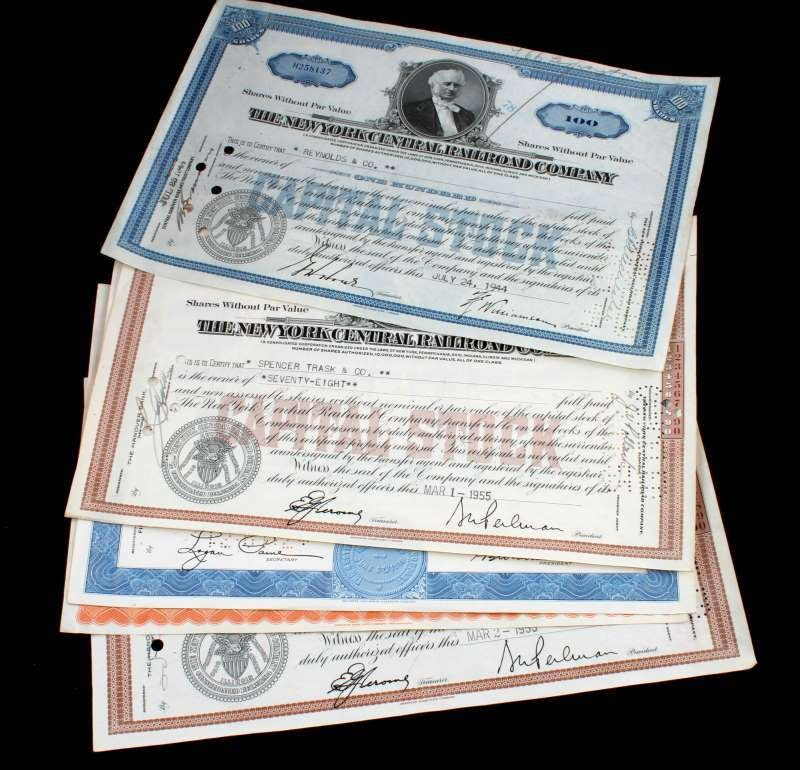 5 PIECE LOT OF ASSORTED RAILROAD STOCK CERTIFICATE