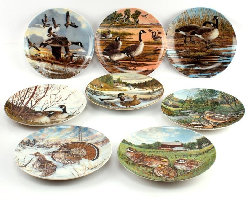 LOT OF 8 KNOWLES & DOMINION CHINA BIRD PLATES