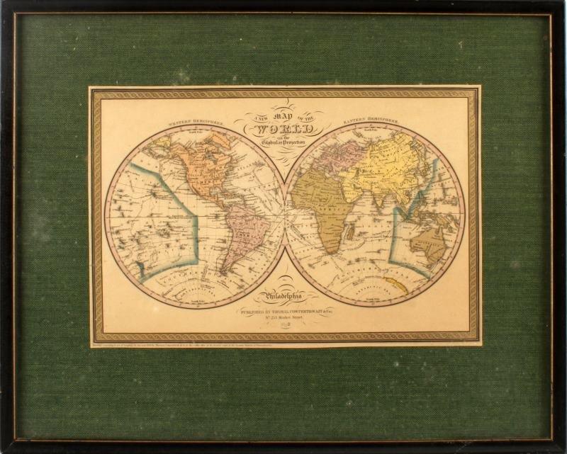 RARE 1852 WORLD MAP GLOBULAR COWPERTHWAIT & CO