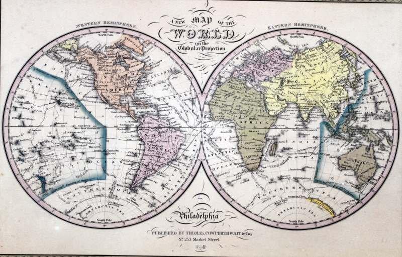 RARE 1852 WORLD MAP GLOBULAR COWPERTHWAIT & CO - 2