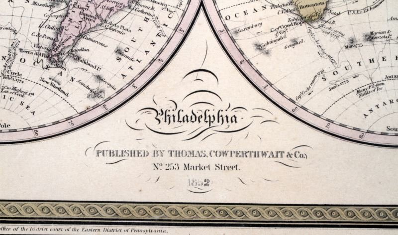 RARE 1852 WORLD MAP GLOBULAR COWPERTHWAIT & CO - 3