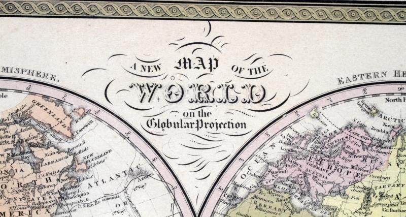RARE 1852 WORLD MAP GLOBULAR COWPERTHWAIT & CO - 4