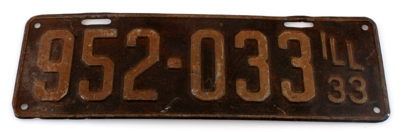 VINTAGE 1933 ILLINOIS PASSENGER LICENSE PLATE