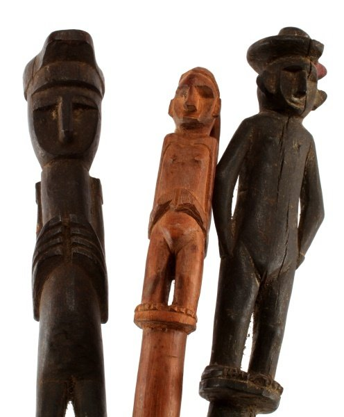 LOT OF THREE CARVED WOODEN FIGURAL BATONS