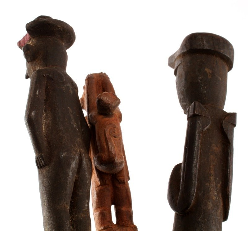 LOT OF THREE CARVED WOODEN FIGURAL BATONS - 2