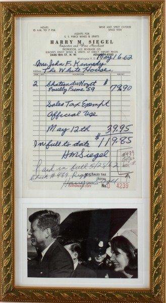 MR. JOHN F. KENNEDY JACKIE RECIEPT FOR LIQUOR