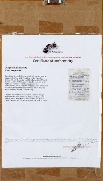 MR. JOHN F. KENNEDY JACKIE RECIEPT FOR LIQUOR - 4