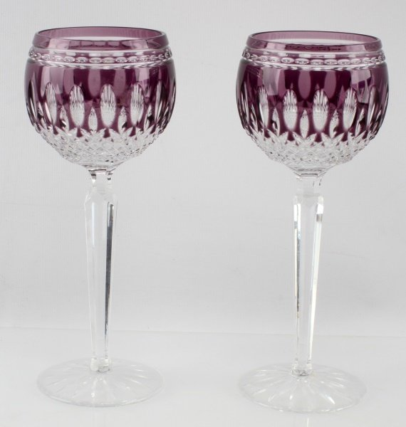 WATERFORD CRYSTAL AMETHYST CLARENDON GLASSES