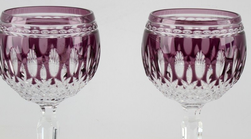 WATERFORD CRYSTAL AMETHYST CLARENDON GLASSES - 2