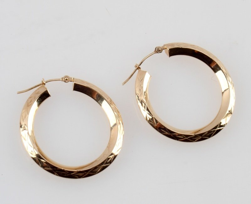 LADIES 14 KARAT YELLOW GOLD  HOOP EARRINGS 29MM - 2