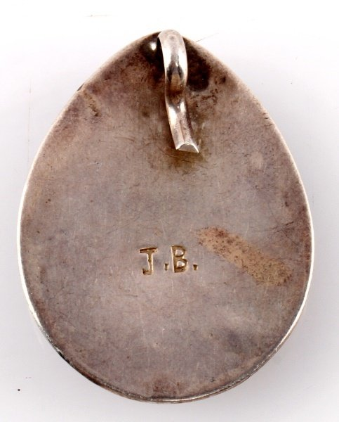 NATIVE AMERICAN SIGNED JB PENDANT STERLING SILVER - 2