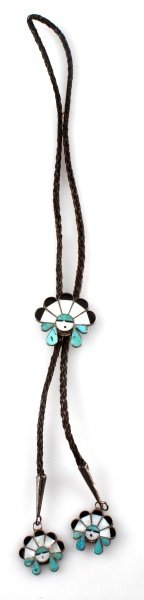 INLAID HEAD DRESS STERLING SILVER BOLO