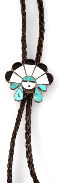 INLAID HEAD DRESS STERLING SILVER BOLO - 2