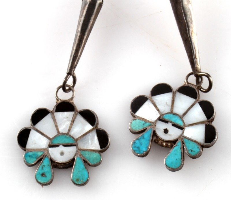 INLAID HEAD DRESS STERLING SILVER BOLO - 3