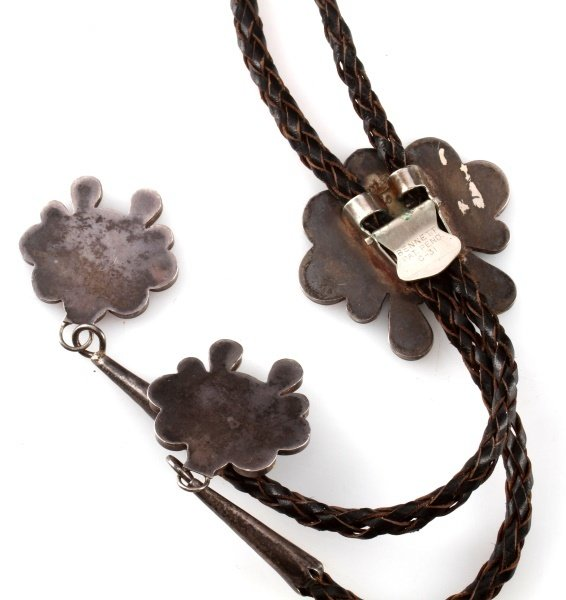 INLAID HEAD DRESS STERLING SILVER BOLO - 4