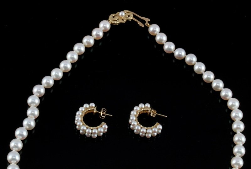 MIKIMOTO PEARL NECKLACE AND EARRING SET - 2