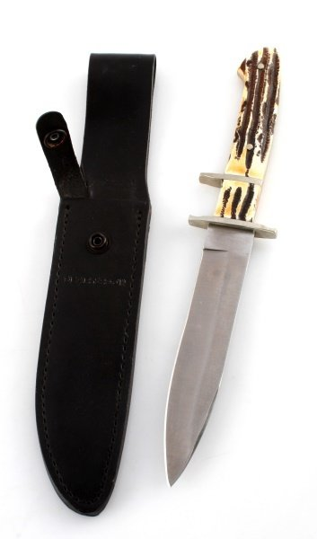 BEAR & SON STAG HANDLE HUNTING KNIFE W/ SHEATH - 3