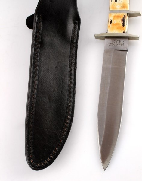 BEAR & SON STAG HANDLE HUNTING KNIFE W/ SHEATH - 5