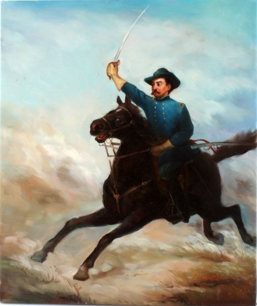 CIVIL WAR OIL ON CANVASS OF GENERAL PHIL SHERIDAN