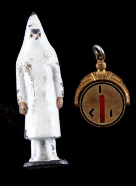 KKK KU KLUX KLAN LEAD FIGURE & SPINNER PENDANT - 2