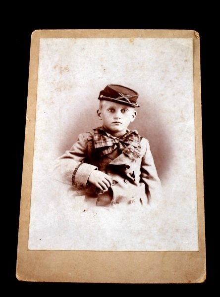 UNUSUAL CABINET CARD PHOTOGRAPH BOY IN KEPI