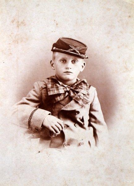 UNUSUAL CABINET CARD PHOTOGRAPH BOY IN KEPI - 2
