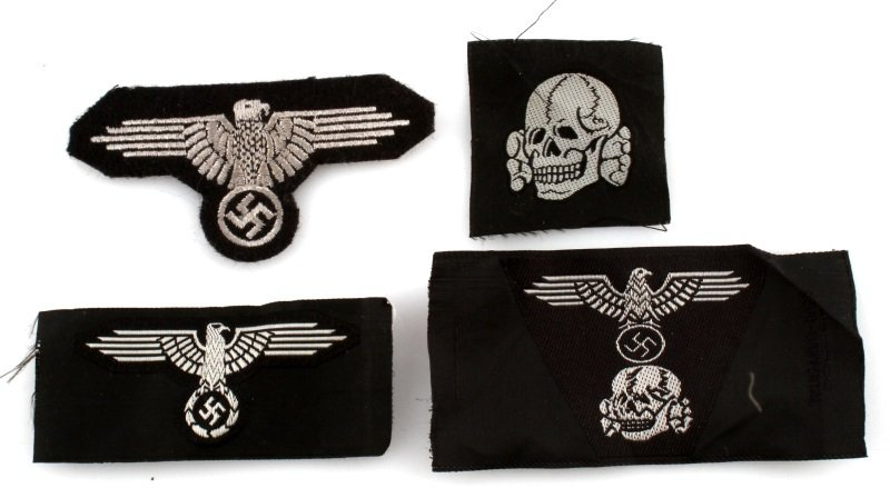 5 WWII GERMAN SS DEATH HEAD & EAGLE PATCHES