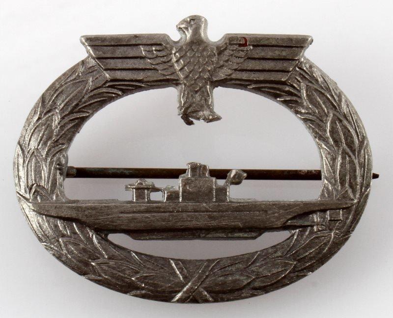 WWII THIRD REICH GERMAN U BOAT BADGE DENAZIFIED