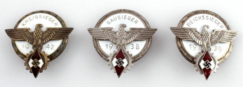 3 GERMAN HITLER JUGEND BADGES 1938 1942 AND 1939