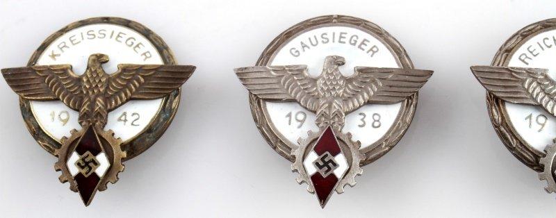 3 GERMAN HITLER JUGEND BADGES 1938 1942 AND 1939 - 2