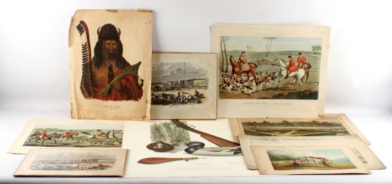 LOT OF 9 ANTIQUE LITHOS ENGRAVING ETCHINGS