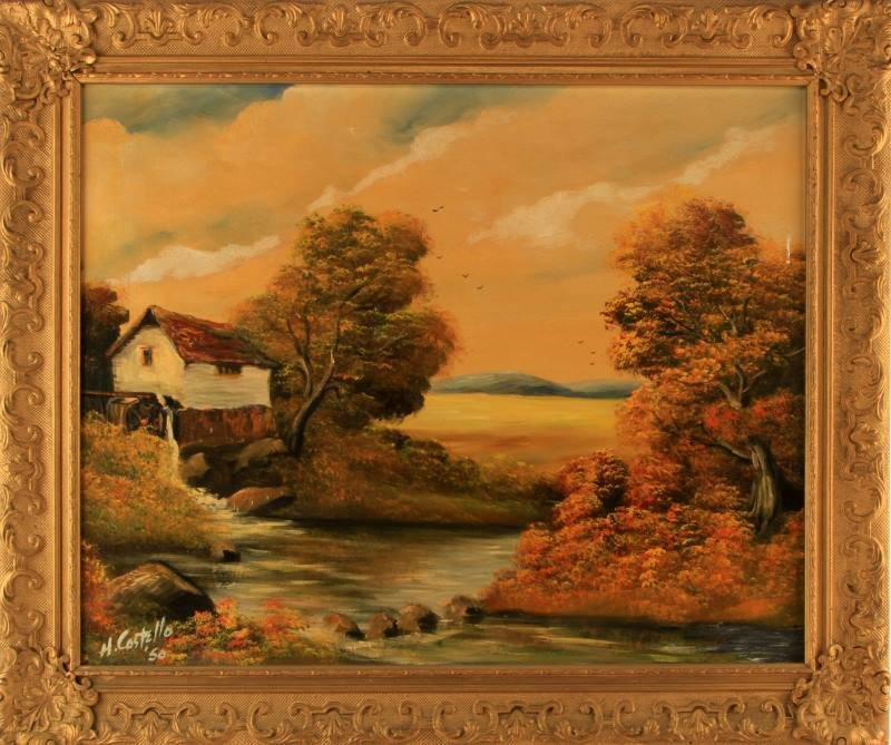 1950 SIGNED OIL ON CANVAS H COSTELLO LANDSCAPE