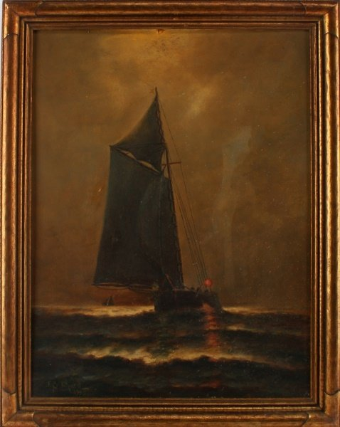 E PRITCHARD SAILBOAT PAINTING 21.5 BY 27.5 INCHES