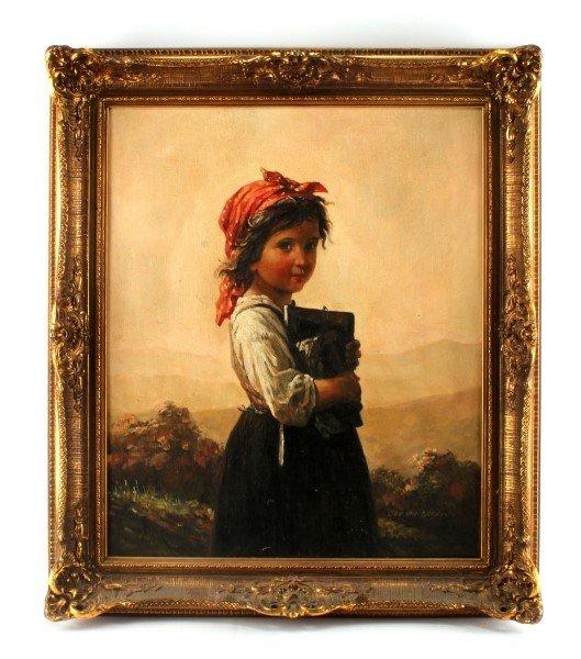 19TH CENTURY OIL ON CANVAS JAN VAN BERMAN GIRL